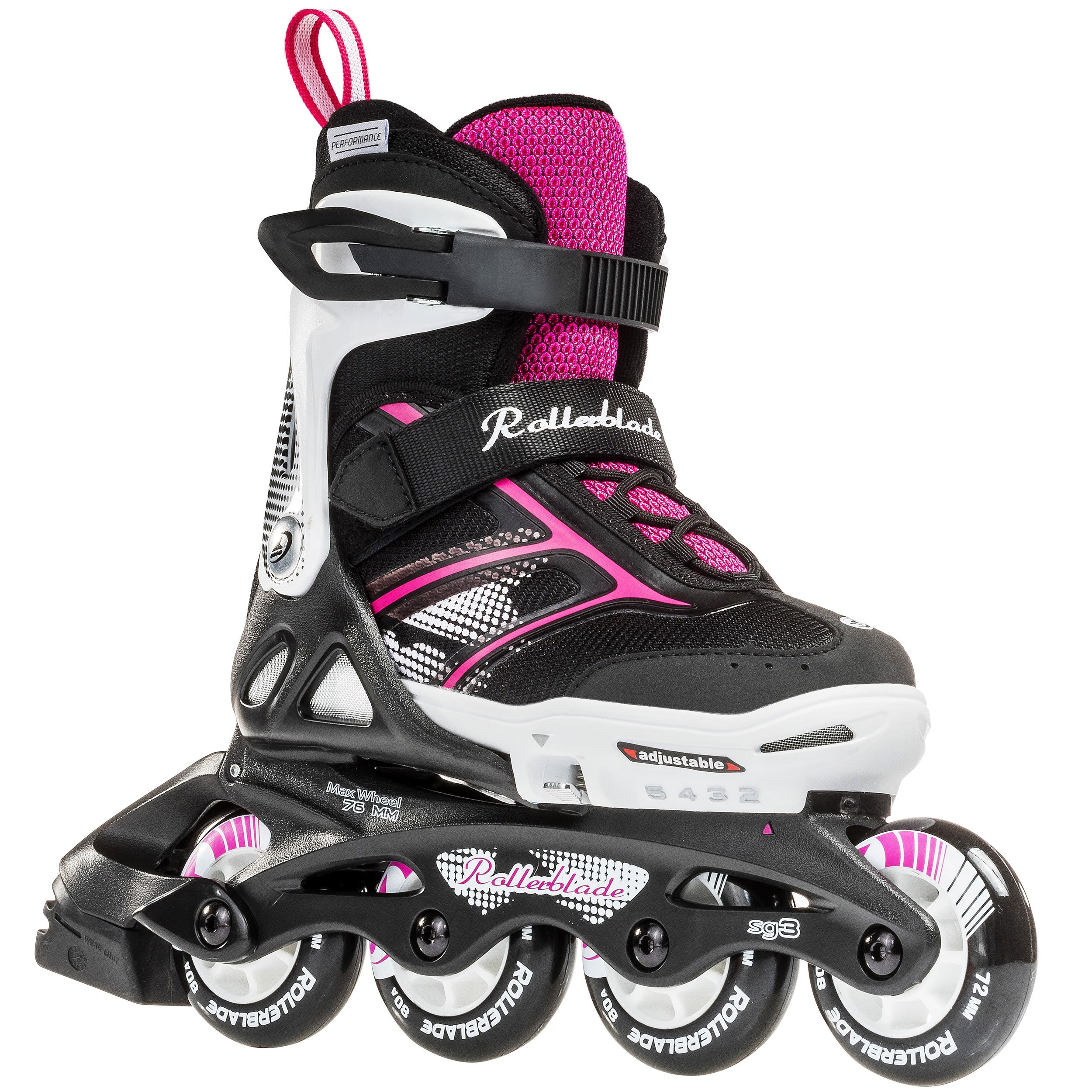 Rollerblade Girls Spitfire JR XTG 2016 Kids Skate, Black/Pink, Adjustable (11 J to 1) by Rollerblade