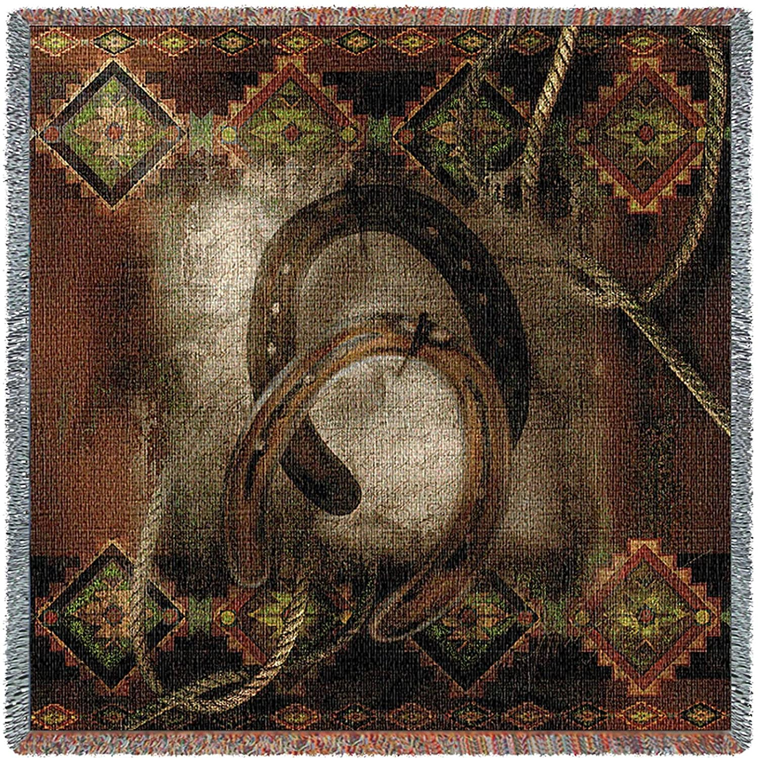 Pure Country Inc. Western Horseshoe Small Tapestry Throw Blanket Pure Country Weavers 1789-LS