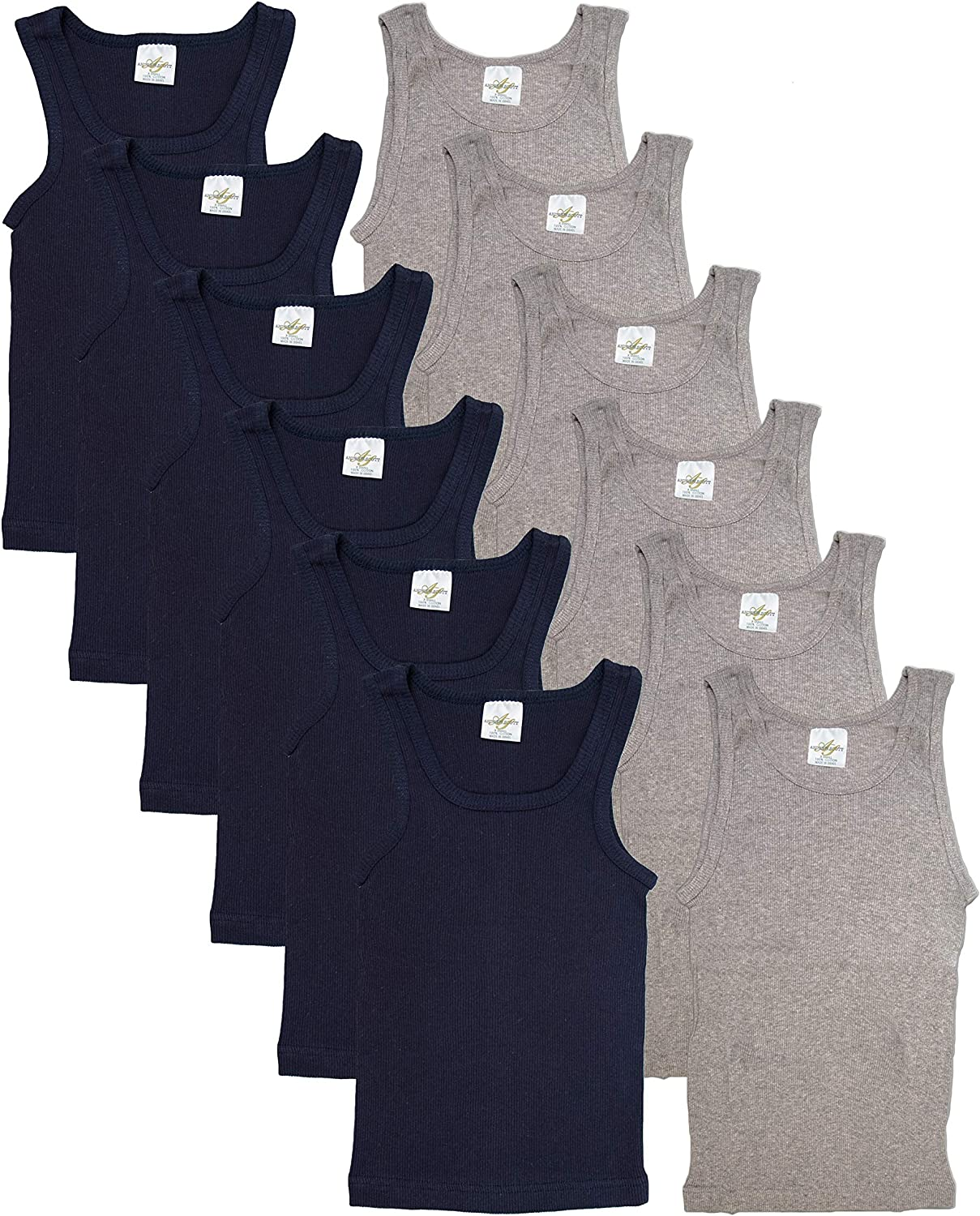 Andrew Scott Basics Boys 10 Pack Color A-Shirt Sport Tank Top Undershirts