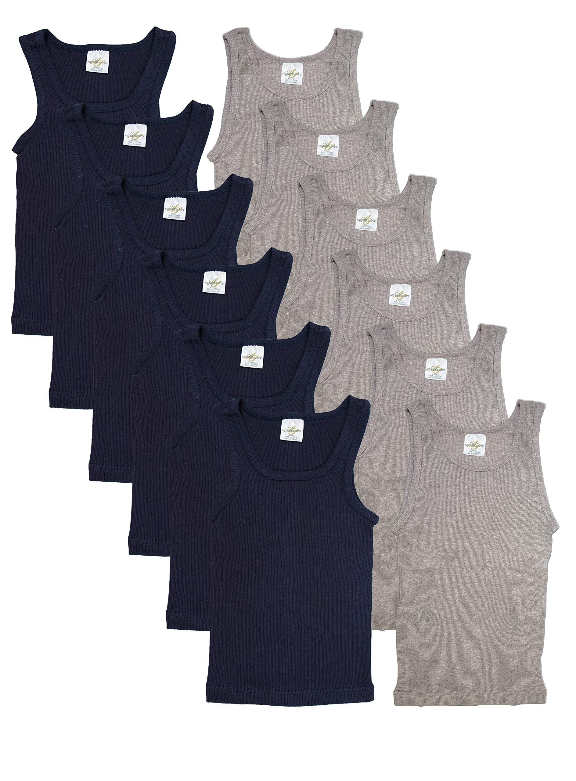 Andrew Scott Basics Boys 12 Pack Color A - Shirt Tank Top Undershirts (Small / (6-8), 12 PK- Grey/Navy)