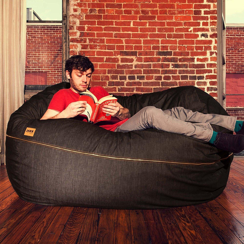 Jaxx 5.5 ft Large Bean Bag Loveseat, Black Denim