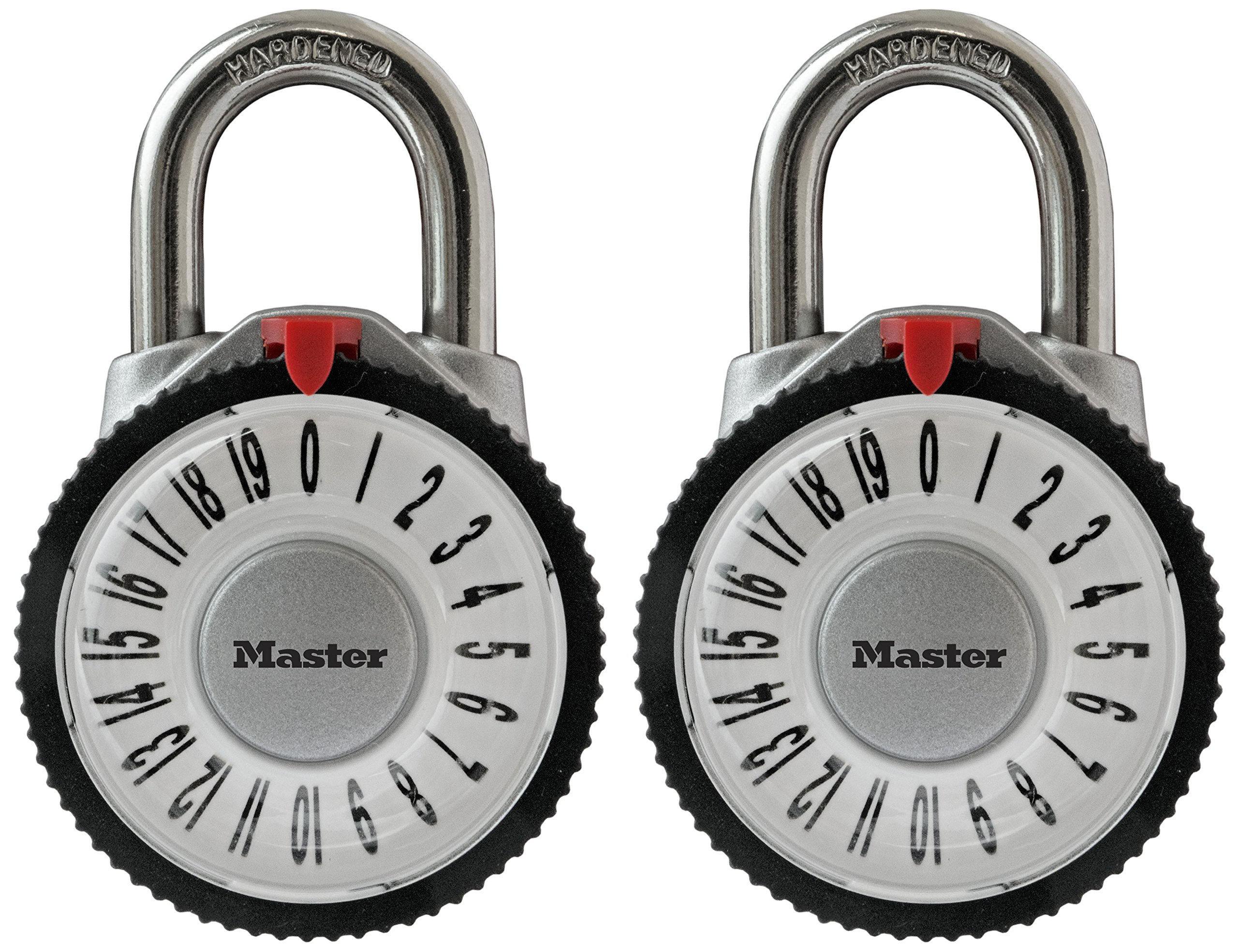 Master Lock Padlock, Standard Dial Combination Lock with Magnification Lens, 2-1/8 in. Wide, Assorted Colors, 1588T (Pack of 2-Combination Alike) by Master Lock (Image #2)
