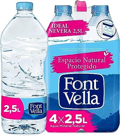 Font Vella, Agua Mineral Natural, tamaño nevera - Pack 4 x 2,5L ...
