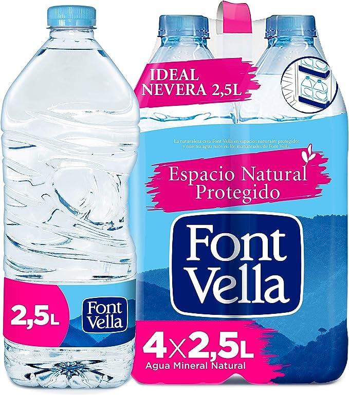 Font Vella, Agua Mineral Natural, tamaño nevera - Pack 4 x 2,5L: Amazon.es: Alimentación y bebidas