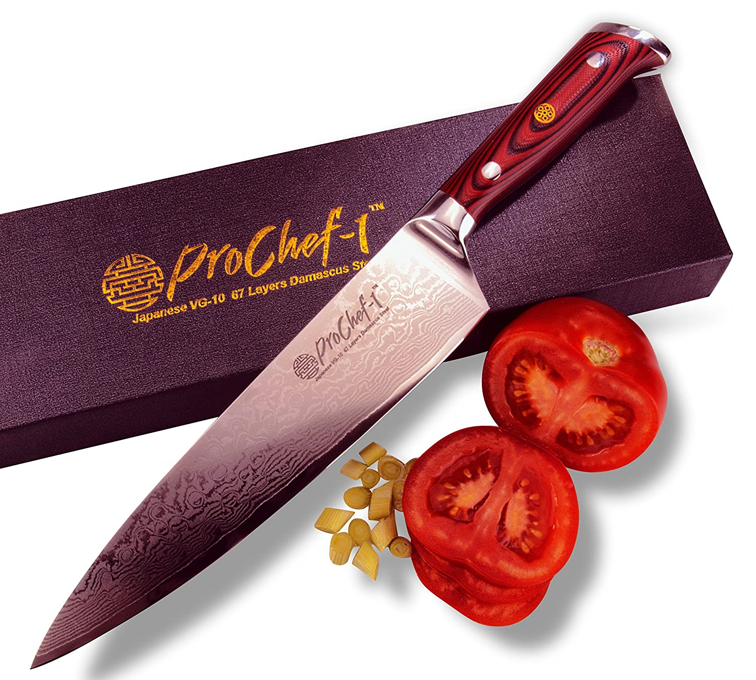 amazon com professional 8 inch chefs knife by prochef1 67 layer amazon com professional 8 inch chefs knife by prochef1 67 layer vg10 super steel damascus gyuto styled top quality japanese high carbon stainless steel