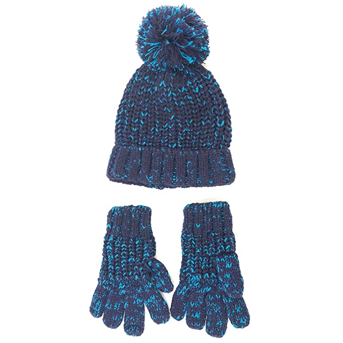 6d79b726b4d94 accsa Kid Boy Nep Warm Rib Knit fun cozy set Hat and Gloves Age 3-