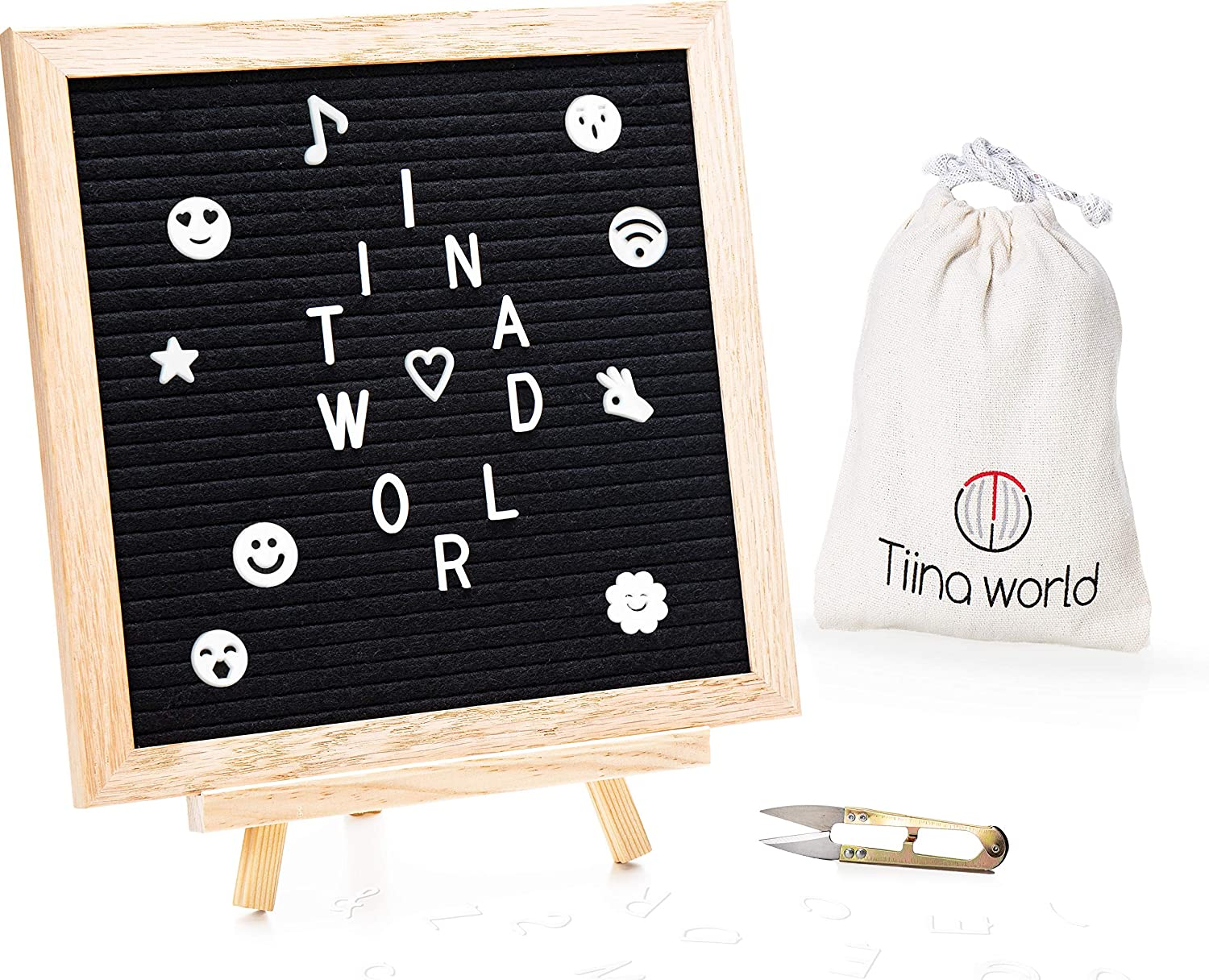 Felt Letter Board with Stand by Tiina World - Set Includes 10x10 Oak Frames, 340 White Letters, Symbols, Numbers, Characters & Emojis, Wooden Easel, Storage Bag - Best Message Home Decor and Gift