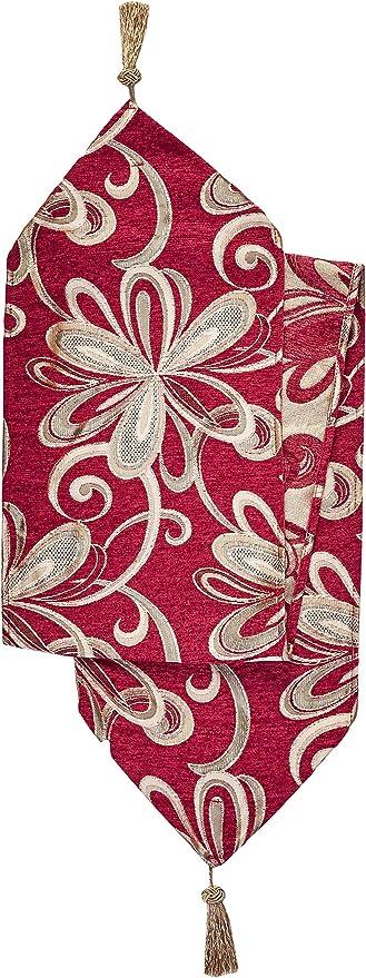 Gold Violet Linen Chenille Chateau Vintage Floral Design Table Runner 13 x 70