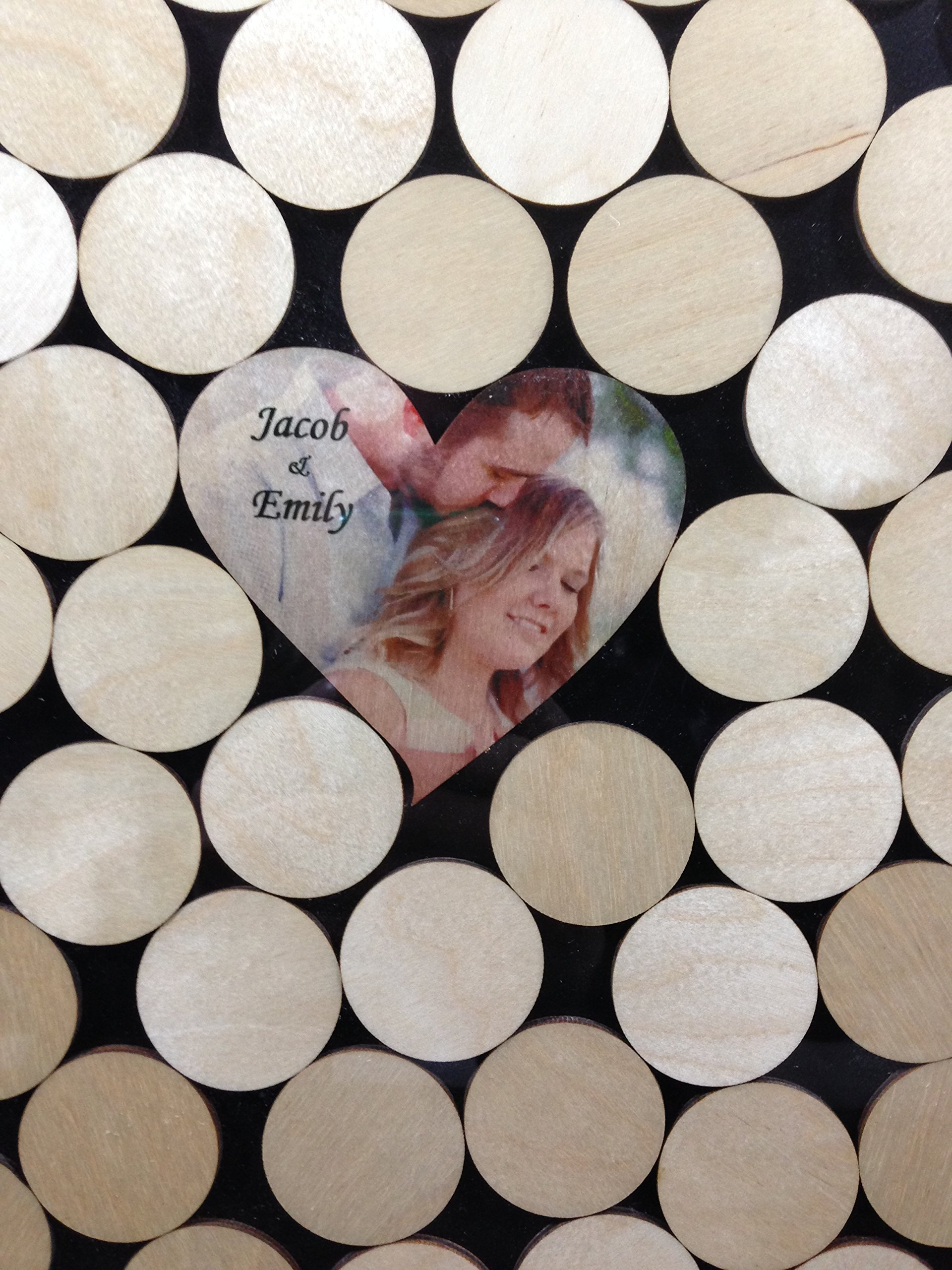 Alternative Wedding wood guest book Circle top drop shadow box, 2'' round wood charms