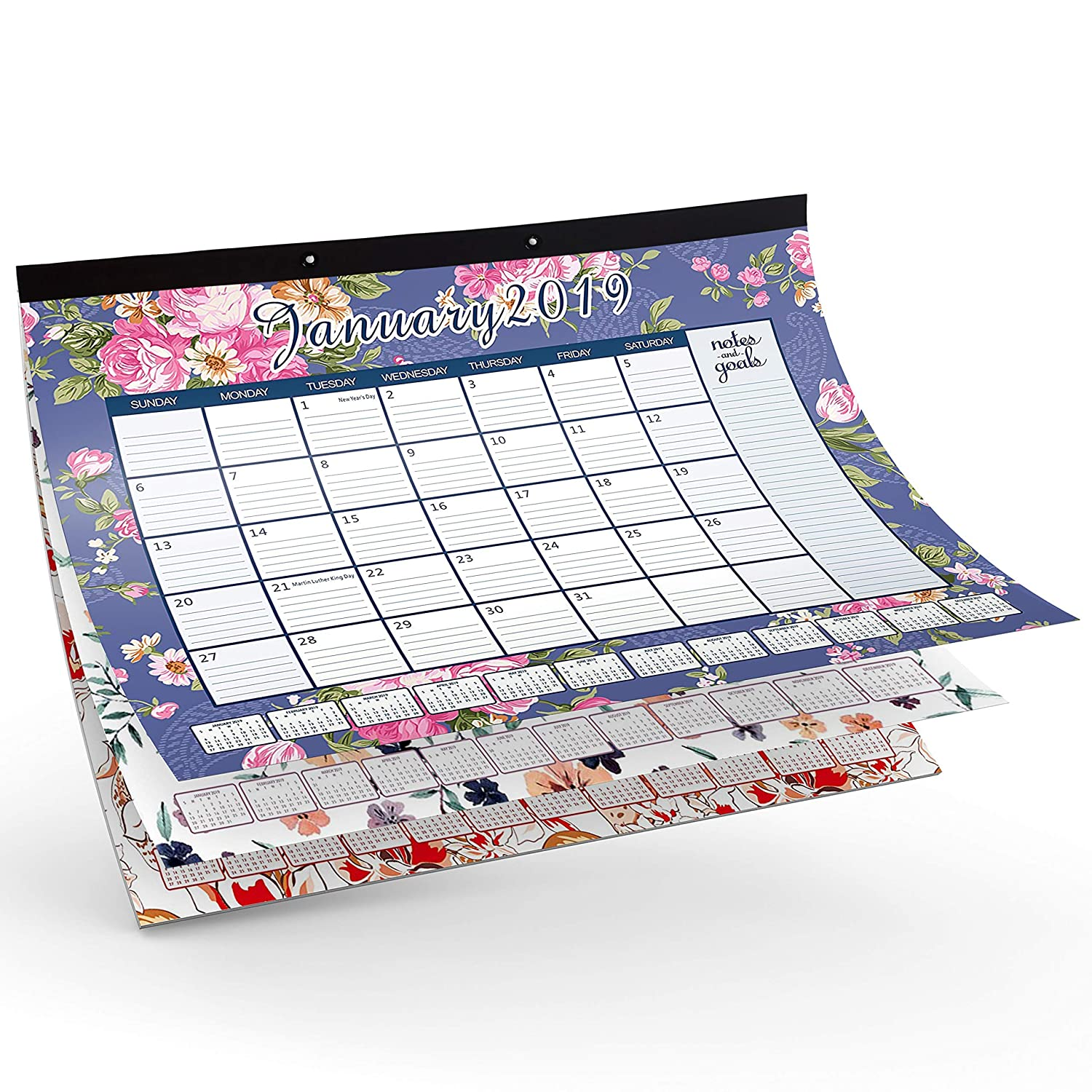 Ideal for Home and Office 12X17 Inch with PVC Corner Protector Daily Tools Wall Desk Calendar 2019 Wall Desk Calendar and Planner Jan-2019 to Dec-2019 Easy Tear Off Style