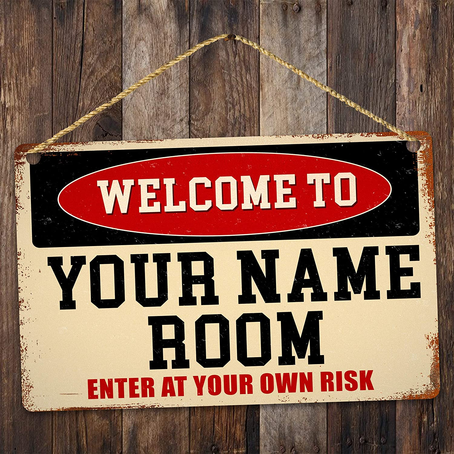 Welcome to Customized Name Room Accent Vintage - Durable Street Metal Sign Decor Personalized Outdoor Yard Garage Indicator Plaque Wall Printing Warning Display for Home Garden Lawn Alloy 7