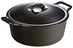 "Lodge Pro-Logic Seasoned Cast Iron Dutch Oven - 7 Quart Cast Iron Camping Slow Cooker with Loop Handles and""Self-Basting"" Cast Iron Cover (Made in USA)"