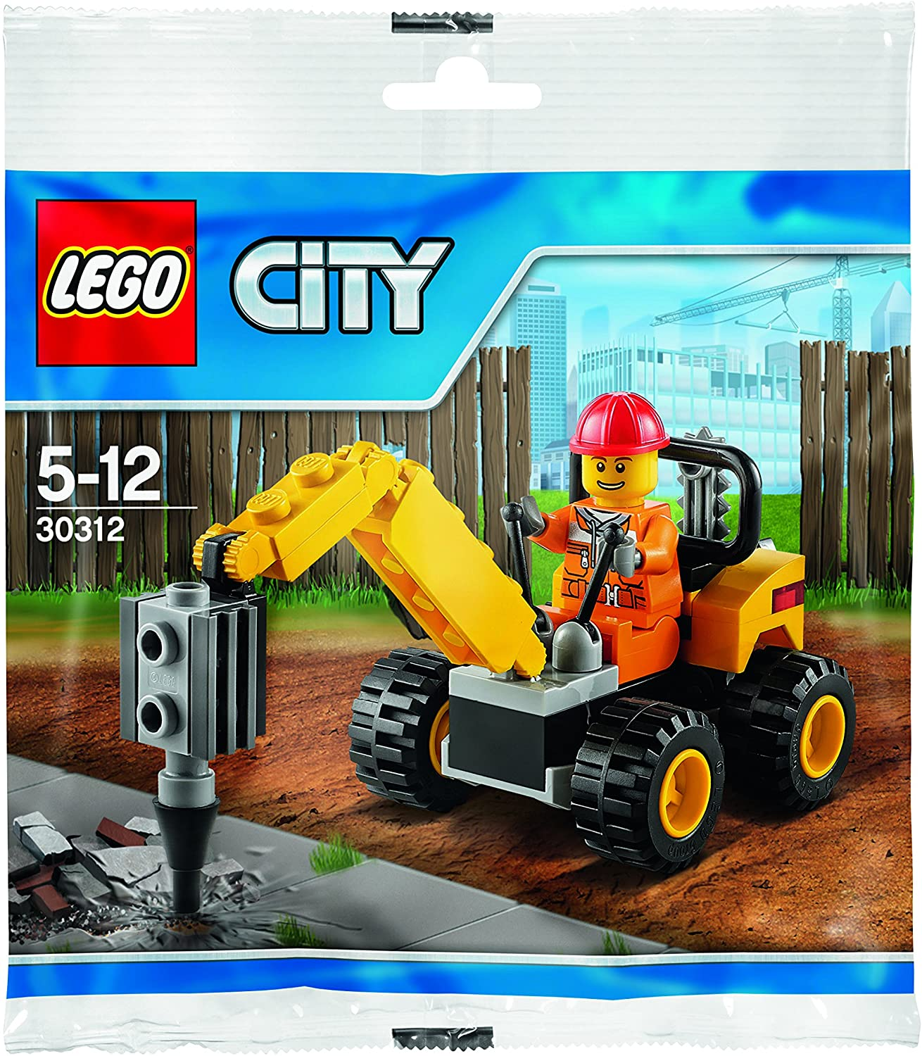 Lego City Demolition man  mini figure FREE POST