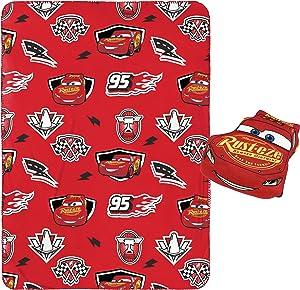"Jay Franco Disney Pixar Cars Plush Pillow and 40"" Inch x 50"" Inch Throw Blanket - Kids Super Soft 2 Piece Nogginz Set (Official Disney Pixar Product)"