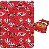 "Jay Franco Disney Pixar Cars Plush Pillow and 40"" Inch x 50"" Inch Throw Blanket - Kids Super Soft 2 Piece Nogginz Set (Offici"