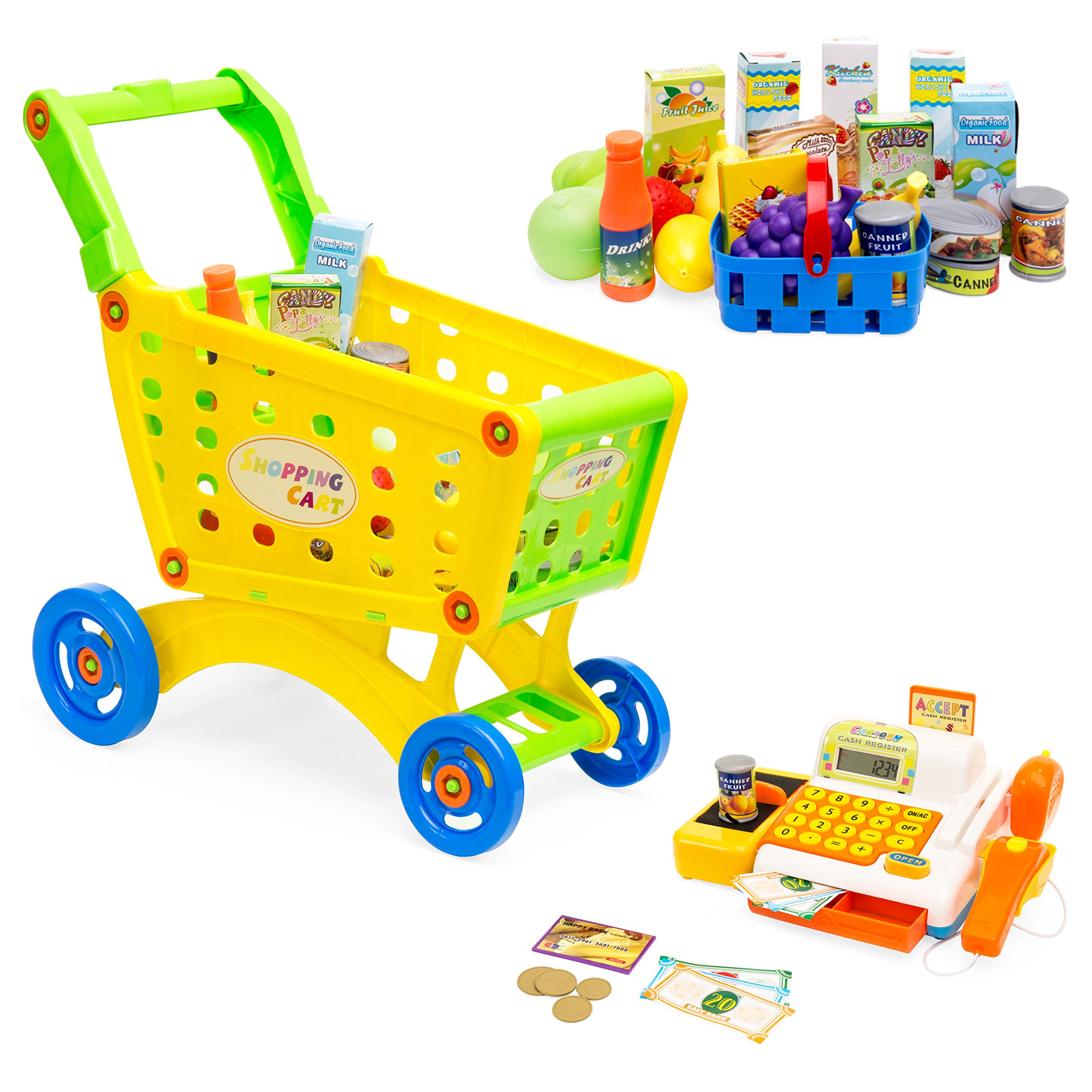 Best Choice Products 27-Piece Grocery Store Playset with Cash Register, Plastic Food and Play Money