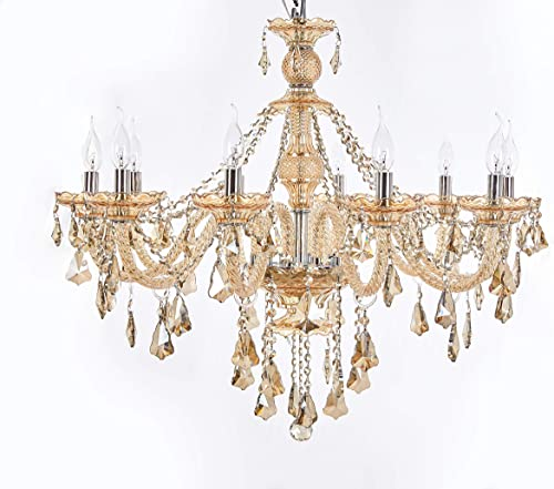 Top Lighting 10-Light Chrome Finish Crystal Chandelier Pendant Ceiling Light Clear European Crystal, 22 Wide, Champagne Color