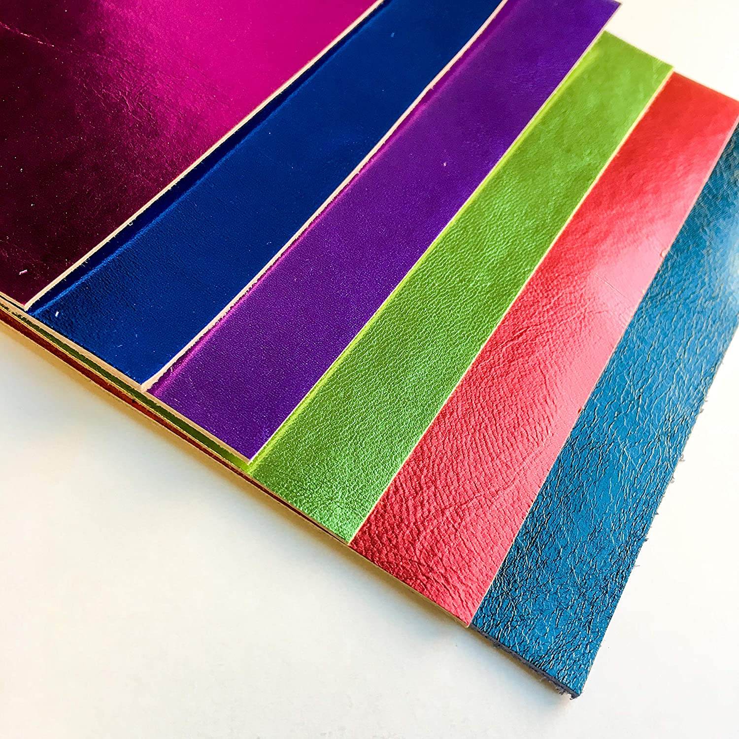 Multicolored Genuine Leather for Crafts Christmas Mix 6 Sheepskin Sheets of 5x5 Inches Large Skin