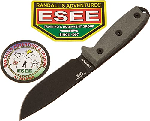 ESEE -4 Serrated Edge Knife No Sheathing with Blades Micarta Handle, Black