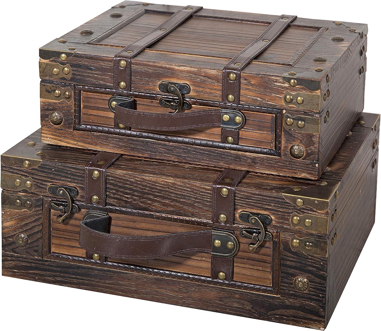 Soul & Lane Kirkland Decorative Wooden Storage Box (Set of 2) | Suitcase Shaped Chest Trunk Styled for Vintage Antique Décor