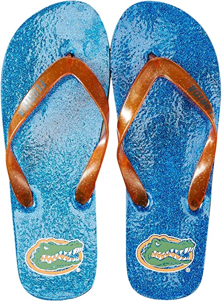 FOCO NCAA Womens Sequin Strap Sandals Flip Flops