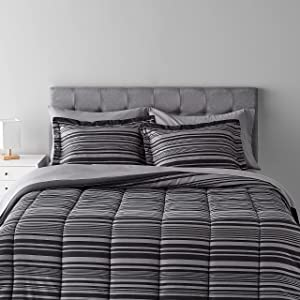 Amazon Basics 7-Piece Light-Weight Microfiber Bed-in-a-Bag Comforter Bedding Set - Full/Queen, Grey Calvin Stripe