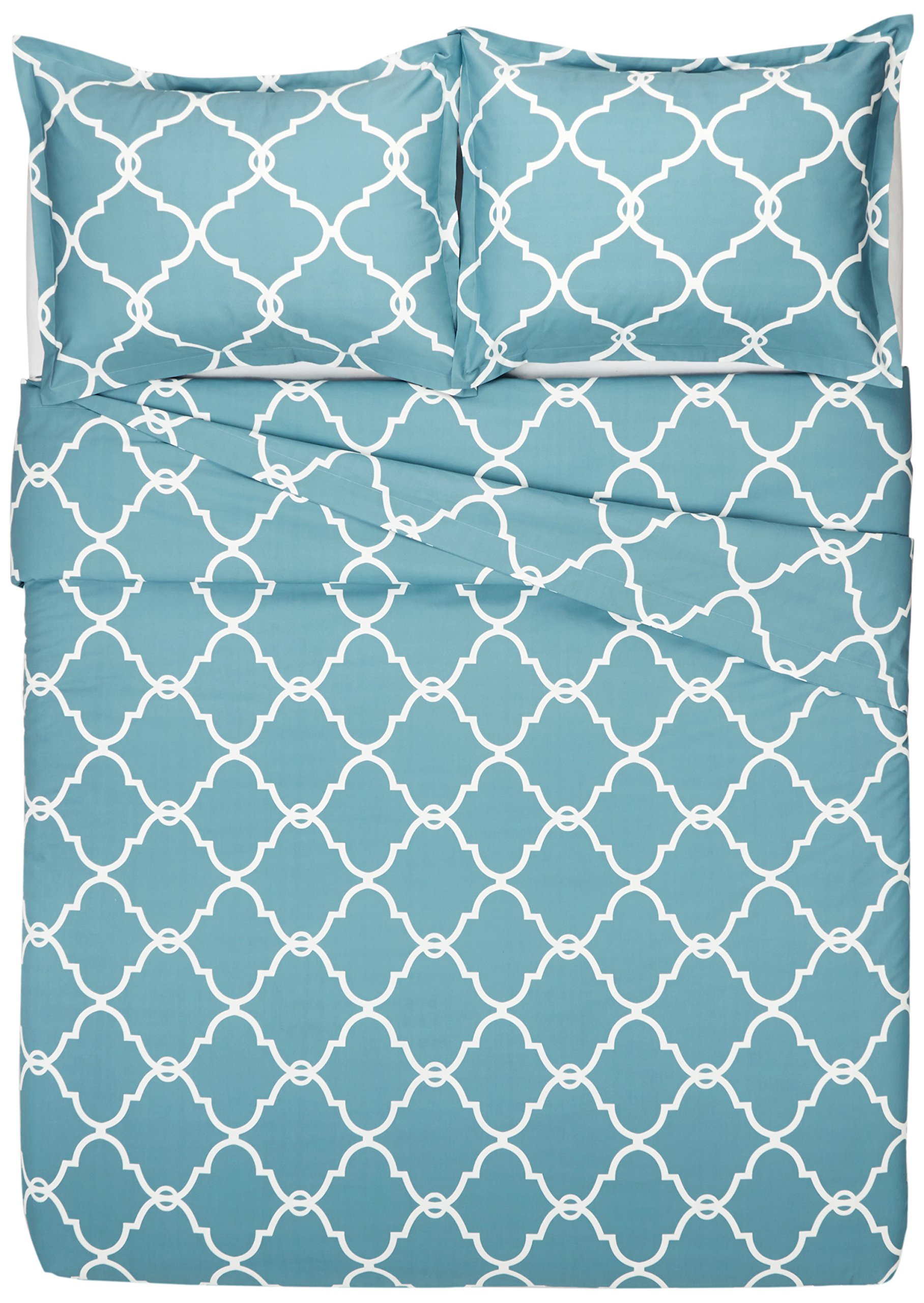 Pinzon 300-Thread-Count 100% Cotton Cool Percale Duvet Cover Set, Full/Queen, Spa Blue by Pinzon by Amazon (Image #4)