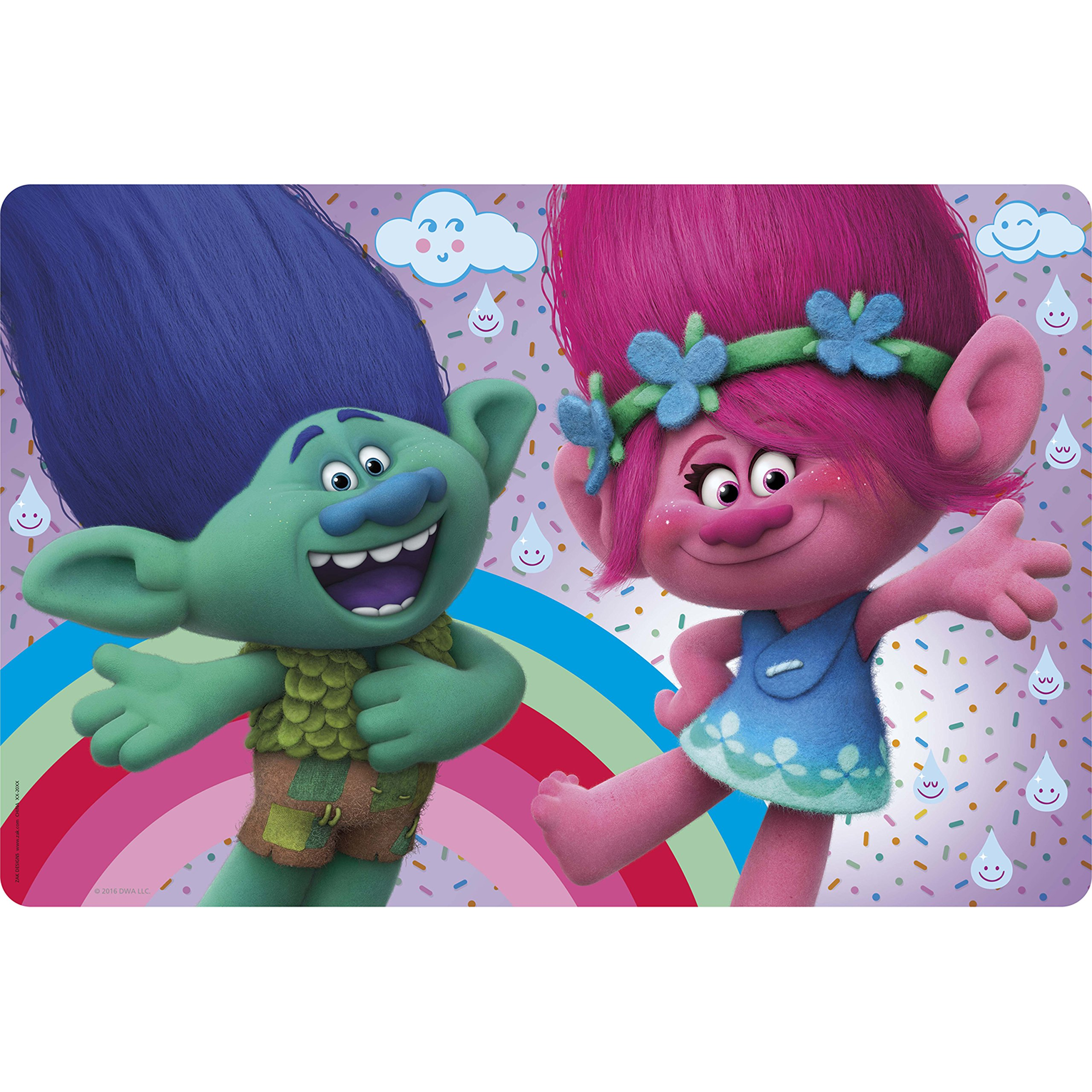 Zak Designs Trolls Movie TROG-1300 Poppy & Branch Kid's Placemat 17.6'' x 11.3'' by