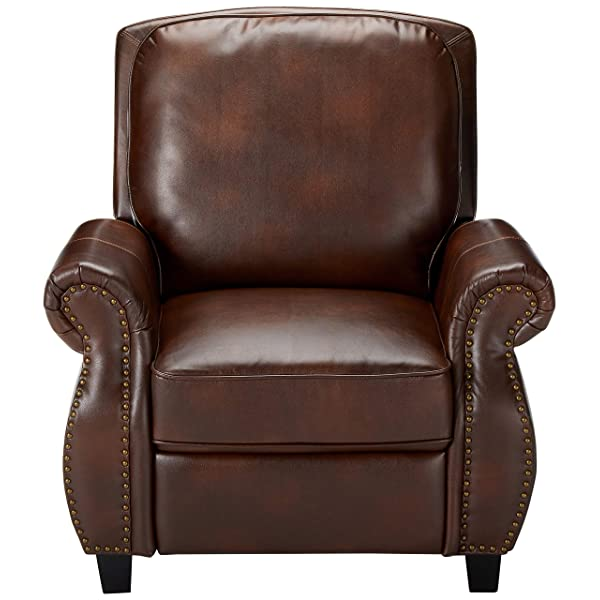 Denise Austin Home 296612 Jasmine PU Leather Recliner Club Chair, Light Brown