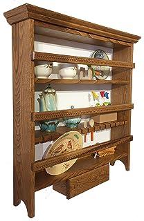 Mensola piattaia in legno 3 cassetti e 3 ganci. 00252 CUCINA MOBILE ...