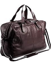 BACCINI® borsa da viaggio vera pelle ROBERTO grande borsa da weekend 28 l borsa da sport uomo cuoio marrone