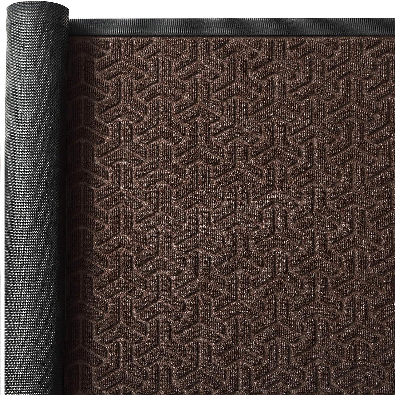 Color&Geometry Outdoor Door Mat 24X35 Rubber Mats, Low-Profile Doormat, Waterproof, Heavy Duty Mat for Floor, Patio, Entry, Back Front Door,Brown