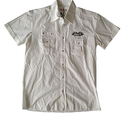 Herren Kurzarm Hemd mit 2 Brusttaschen, elastischen Bündchen an Ärmeln,  viele attraktive Details, d10395cf9f
