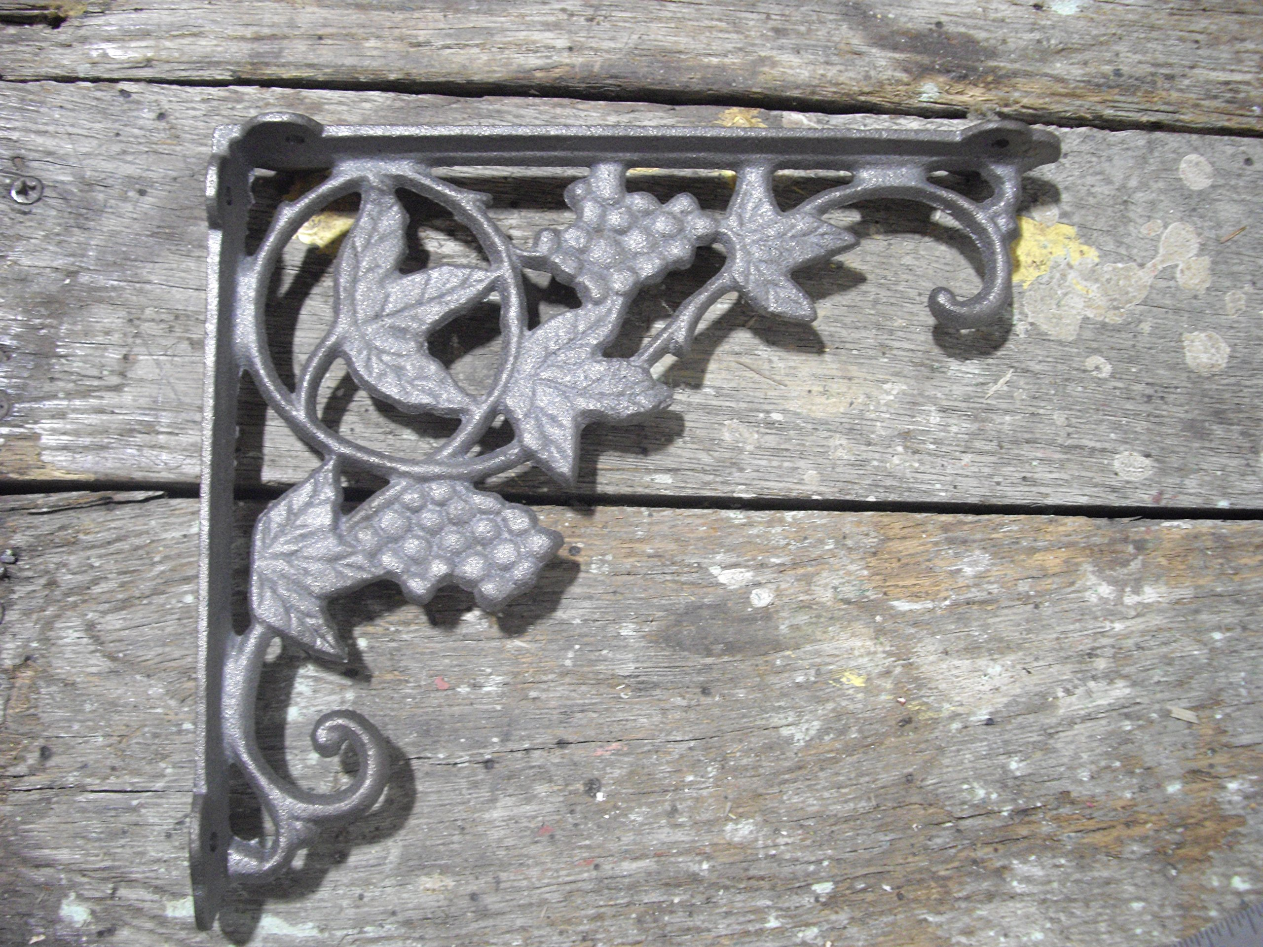 Unique Home Decorative Cast Iron Metal Ornate Grapes & Vine Shelf Bracket, 9 x 7 inch Set of 2, by Southern Charm Market