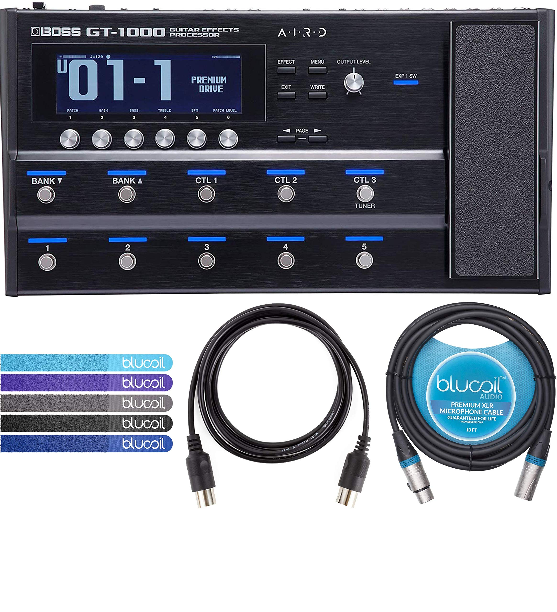 BOSS GT-1000 Multi Effects Processor with Expression Pedal for Guitars Bundle with Blucoil 10-Ft Balanced XLR Cable, 5-Ft MIDI Cable and 5-Pack of Reusable Cable Ties