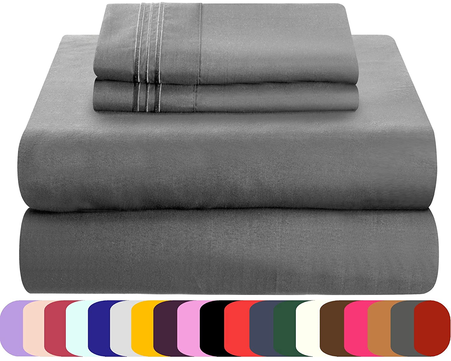 Mezzati Luxury Bed Sheets Set - Sale Gray, Queen