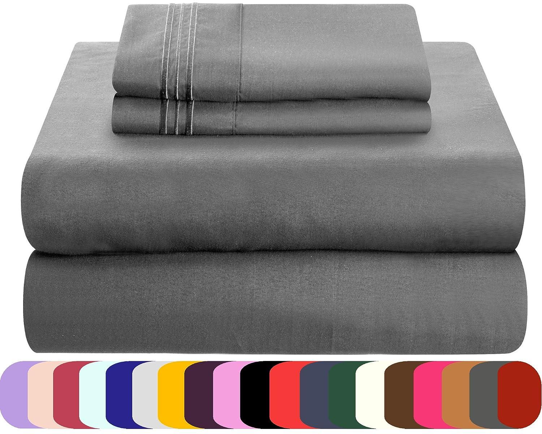 Mezzati Luxury Bed Sheets Set - Sale Microfiber Bedding Gray, King