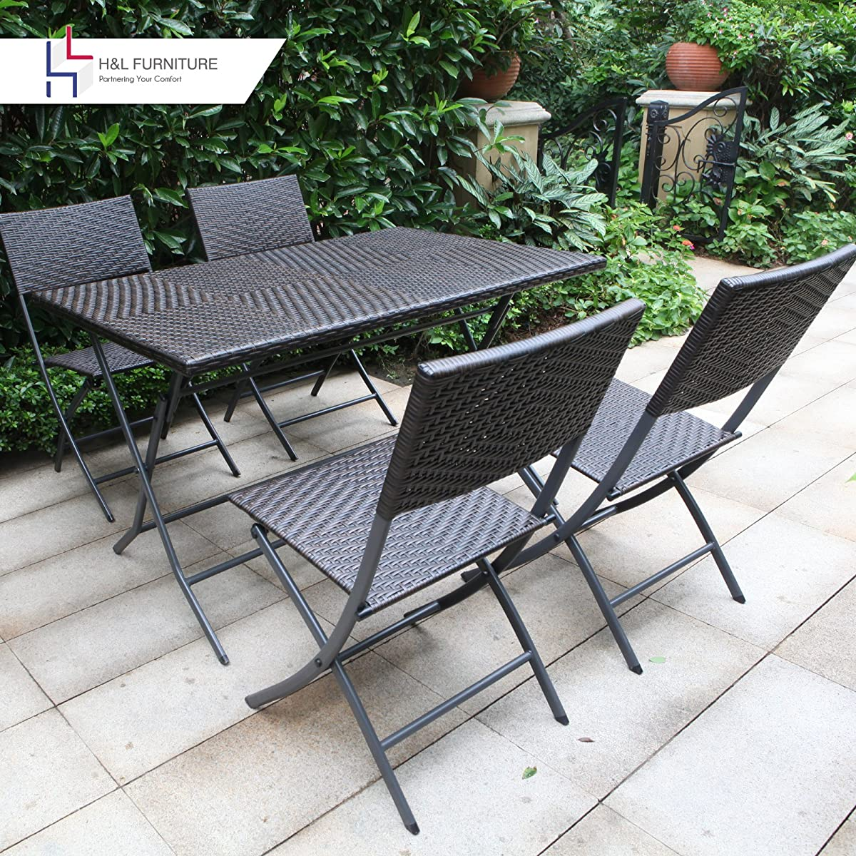 H&L Patio Resin Rattan Steel Folding Bistro Set, Parma Style, All Weather Resistant Resin Wicker, 5 PCS Set of Foldable Table and Chairs, Color Espresso Brown, 1 Year Warranty