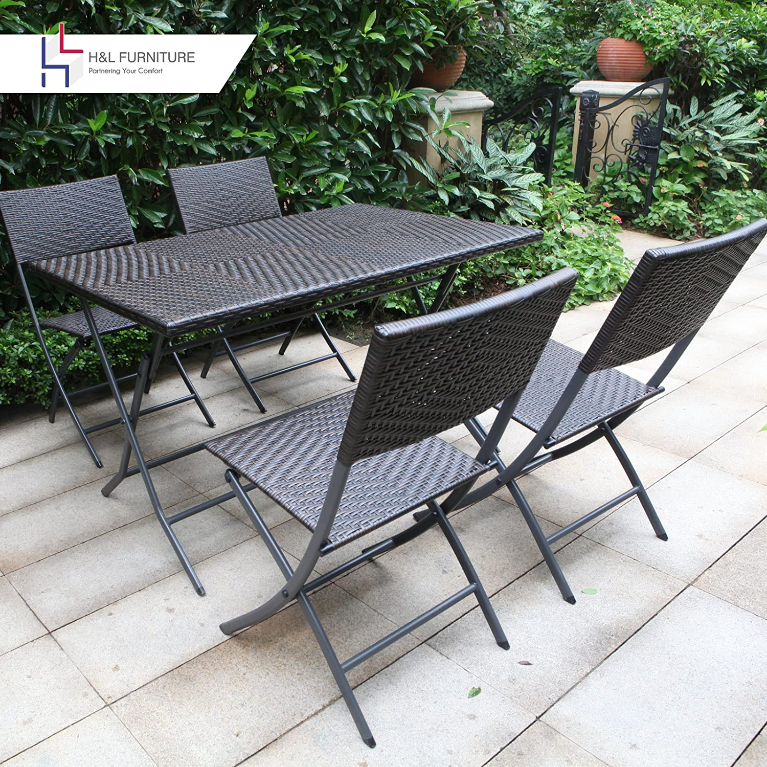 Amazon.com: Hu0026L Patio Resin Rattan Steel Folding Bistro Set, Parma Style,  All Weather Resistant Resin Wicker, 5 PCS Set Of Foldable Table And Chairs,  ...