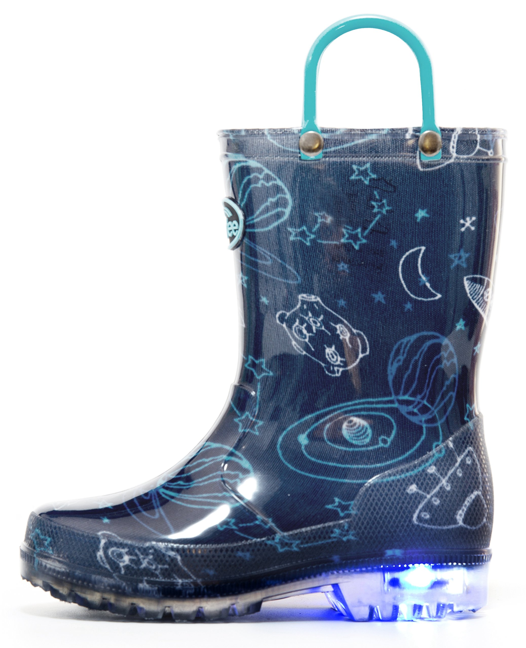 Outee Toddler Boys Kids Light Up Rain Boots Waterproof Lightweight Blue Cosmos Cute Lovely Funny with Easy-On Handles Classic Comfortable (Size 6,Navy)