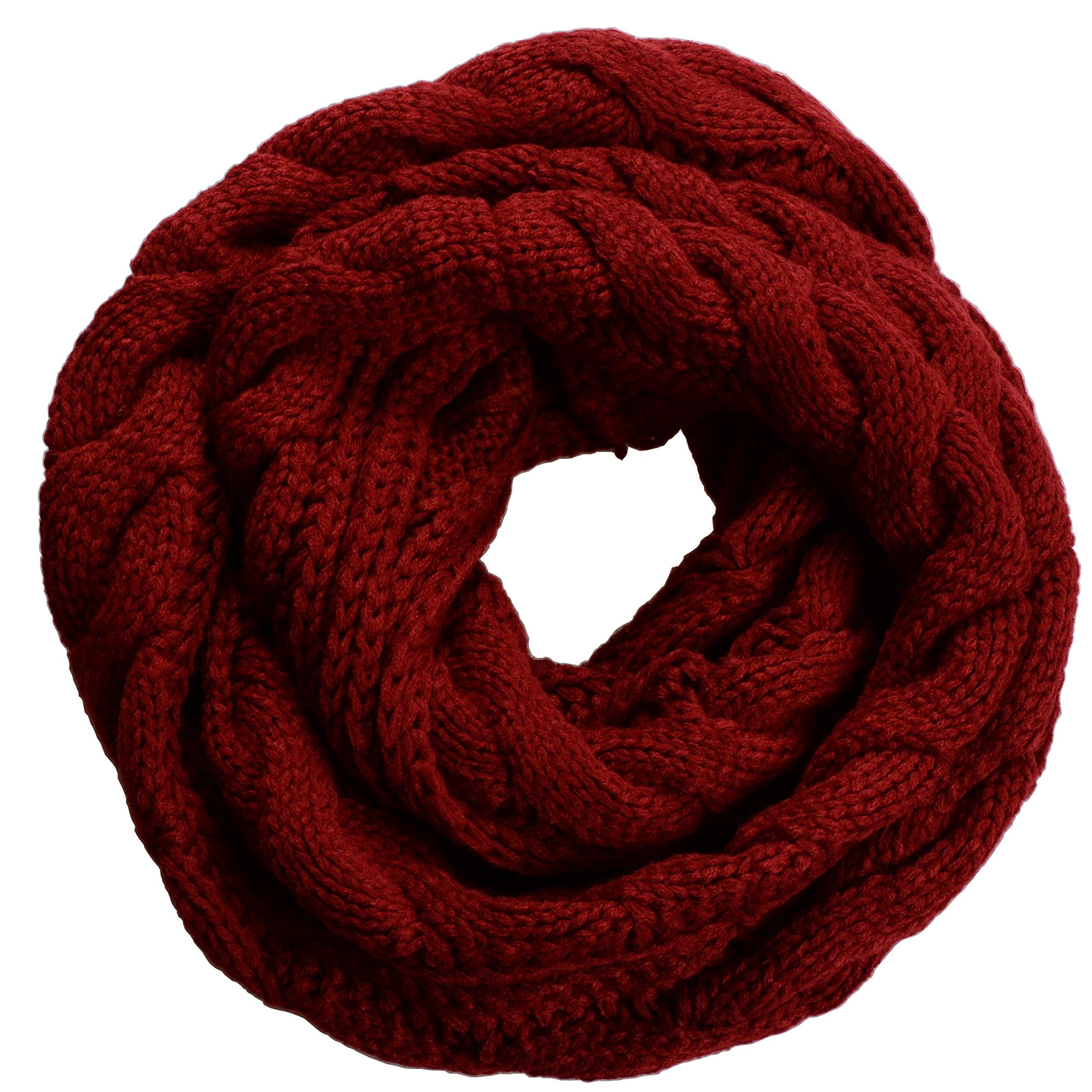 NEOSAN Womens Thick Ribbed Knit Winter Infinity Circle Loop Scarf Twist Claret by NEOSAN