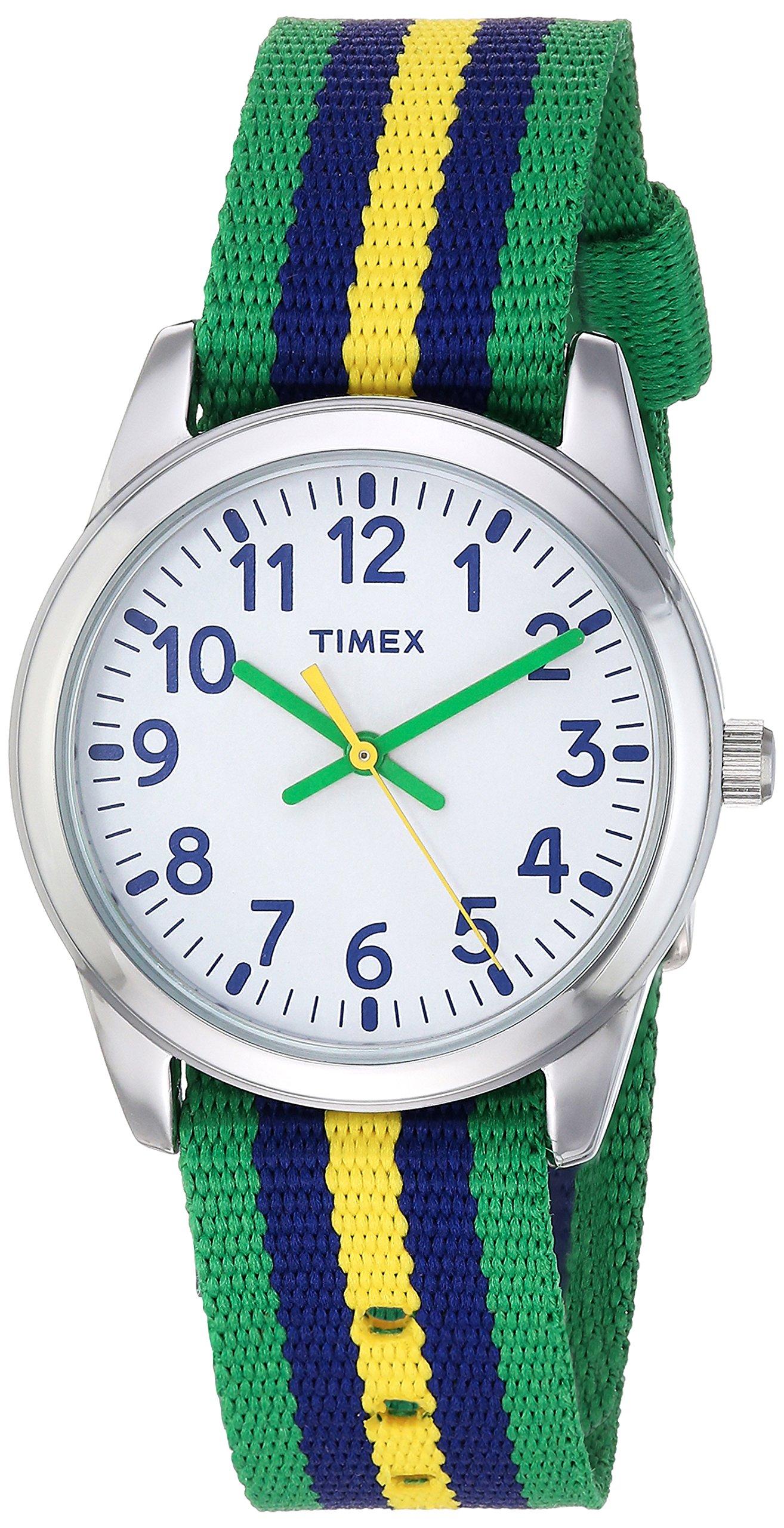 Timex Boys TW7C10100 Time Machines Metal Green/Blue/Yellow Stripes Nylon Strap Watch