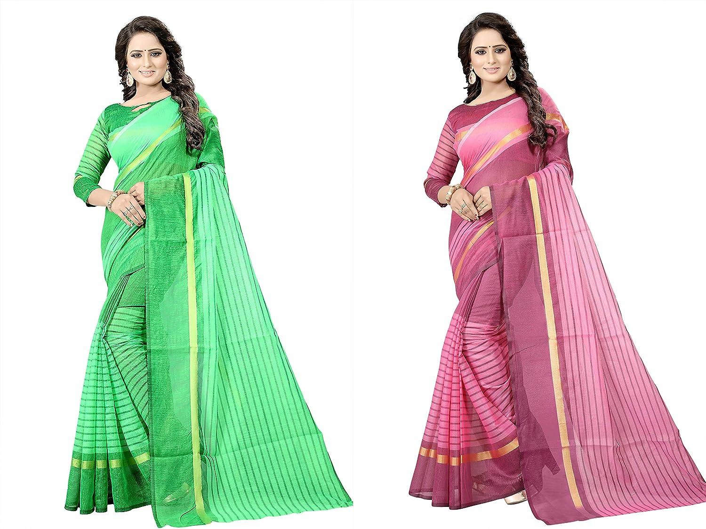 Florence Women's Green and Rani Cotton Silk Striped Print