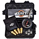Grit Performance Tire Deflators with 80 PSI Tire Pressure Gauge + Bonus Chrome Valve Caps | Automatic, Adjustable Deflator Tool Kit for Off Road Tires, Jeep, Truck, Car, ATV, 4x4 Sand & Rock Crawling