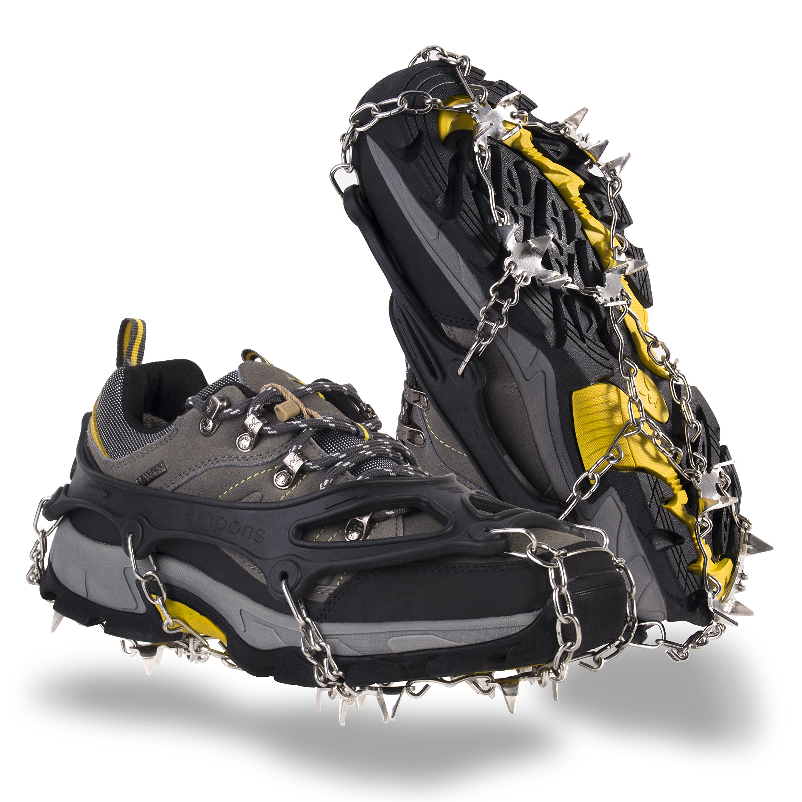 OuterStar Traction Cleats Ice Snow Grips Anti Slip 18 Stainless Steel Spikes Crampons for Footwear