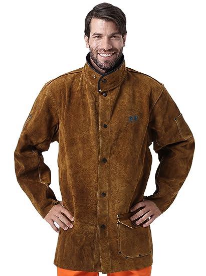 726dad4c6 AP-8130 Golden-brown split cow leather welding jacket with EN11611 CE  certification - XL