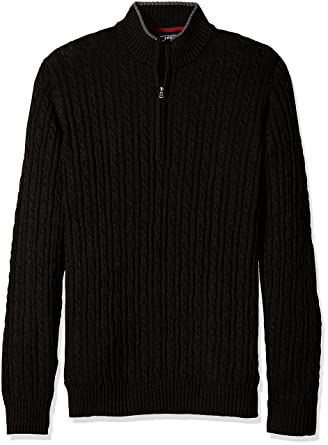 IZOD Men's Big and Tall Cable Solid 1/4 Zip Sweater at Amazon ...