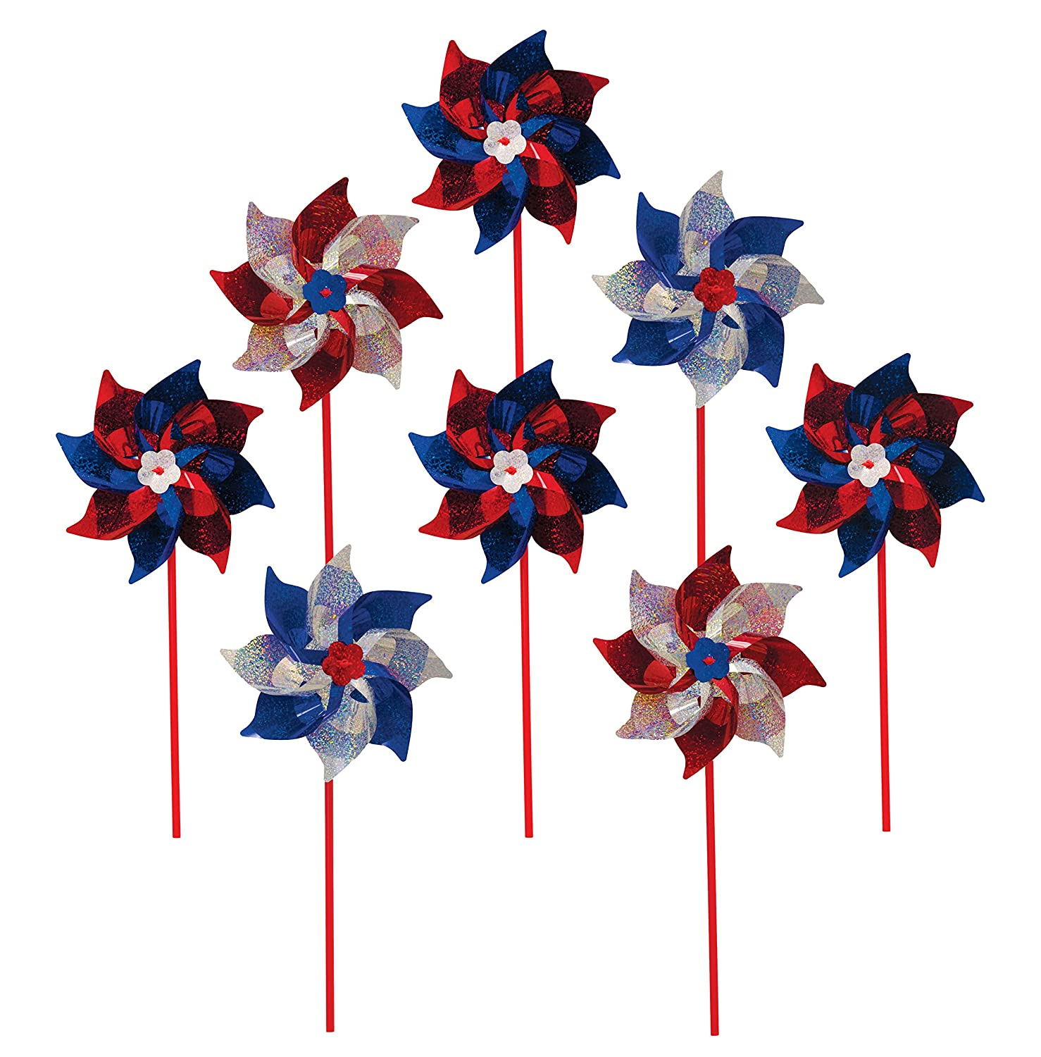 In the Breeze Patriotic Mylar Pinwheel Spinners (8 PC assortment)