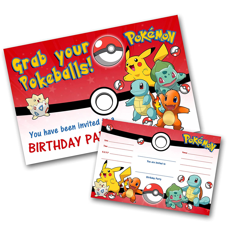 Personalised Various Pokemon Birthday Party Invites inc Envelopes P9