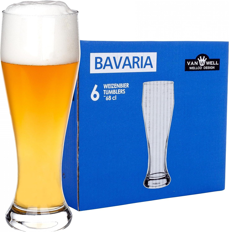 """Juego de 6 vasos para cerveza de trigo """"Bavaria"""" 0,5L graduado"""